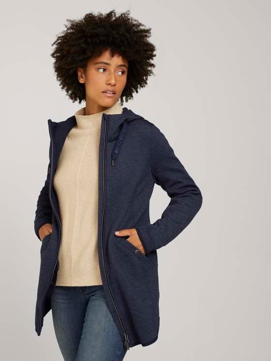Fleece jacket with a hood - Women - navy twill structure - 5 - TOM TAILOR