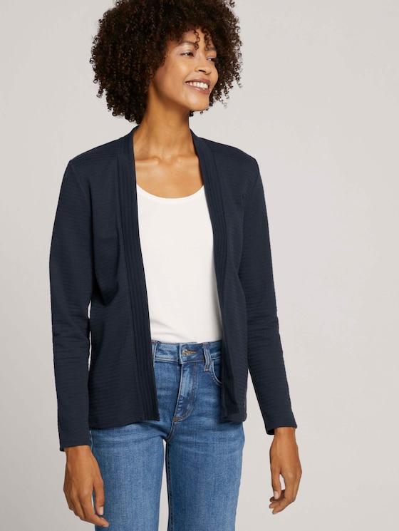 Rib shirt cardigan with organic cotton - Women - Sky Captain Blue - 5 - TOM TAILOR