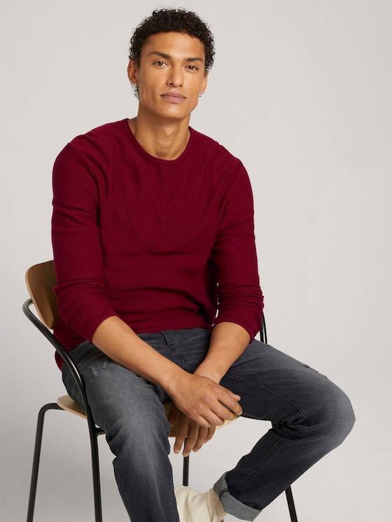 basic long-sleeved shirt made of organic cotton - Men - burned cordovan red - 5 - TOM TAILOR Denim