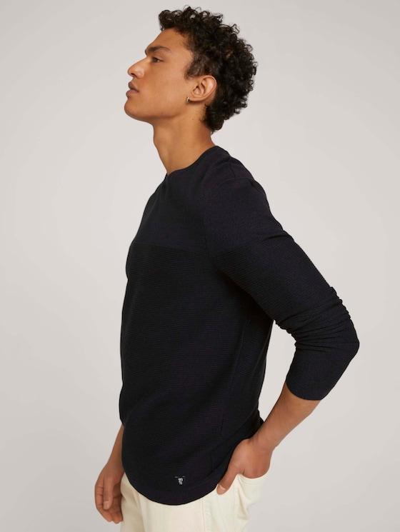 organic cotton sweater - Men - navy black mouline - 5 - TOM TAILOR Denim