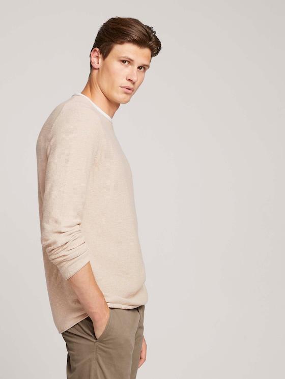 shirt met lange mouwen van biologisch katoen - Mannen - beige dark melange - 5 - TOM TAILOR Denim