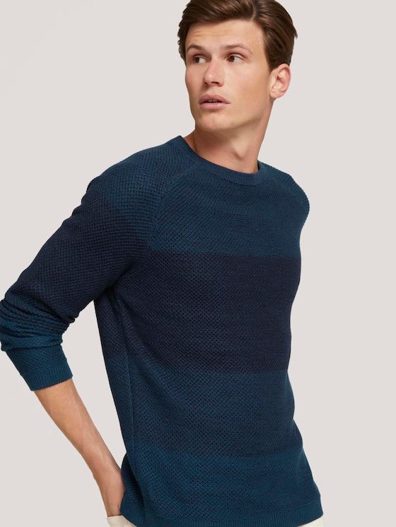 textured sweater with organic cotton - Men - navy petrol degrade - 5 - TOM TAILOR Denim