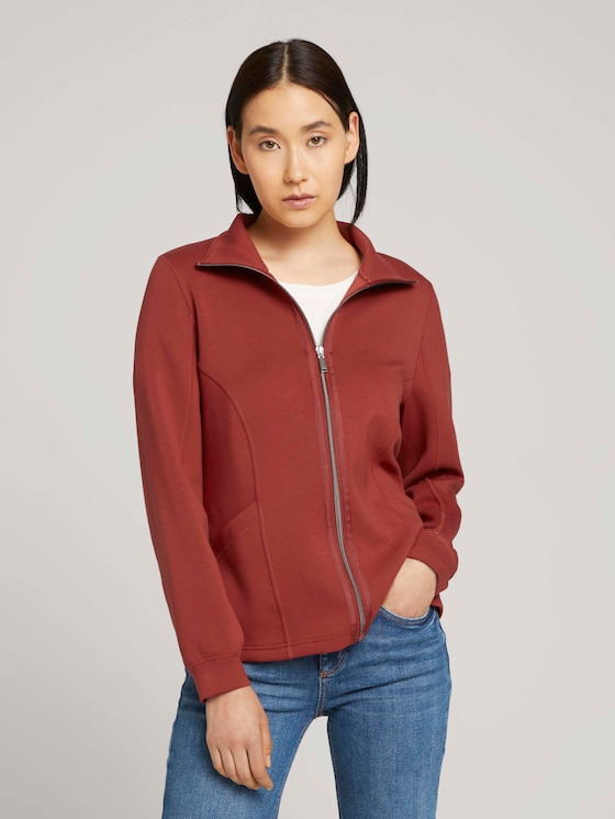 Sweat jacket with a stand-up collar - Women - dark maroon red - 5 - TOM TAILOR