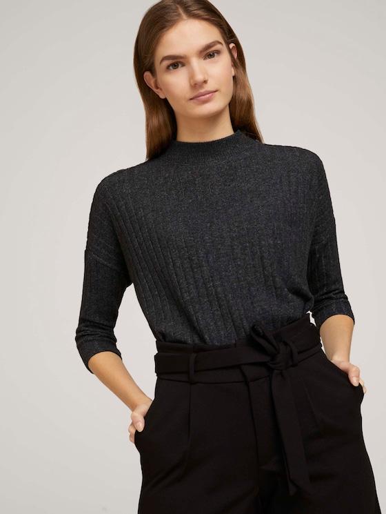Pullover mit Rippstruktur - Frauen - Shale Grey Melange - 5 - TOM TAILOR Denim