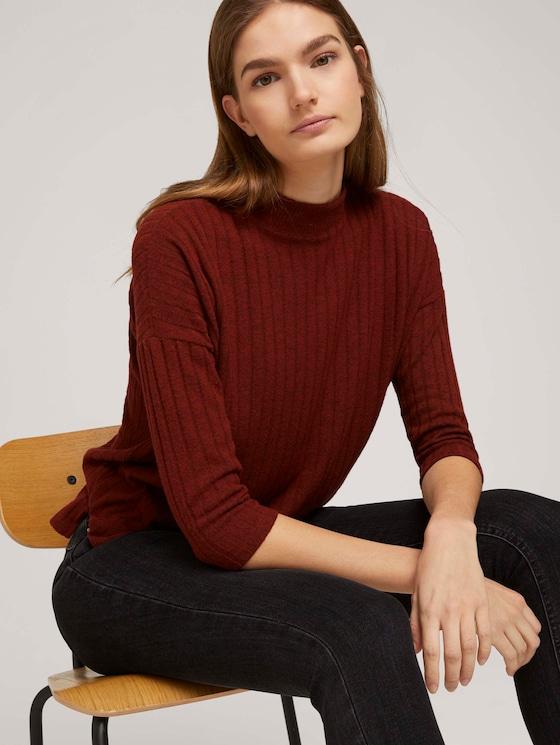 Pullover mit Rippstruktur - Frauen - rust orange melange - 5 - TOM TAILOR Denim