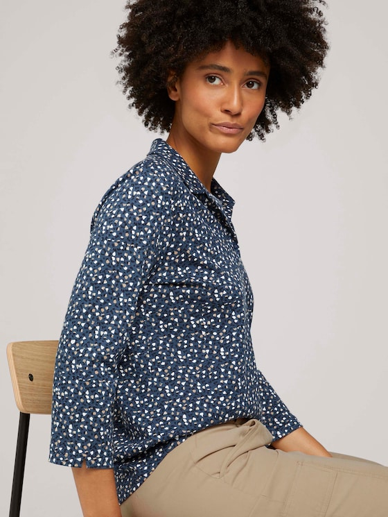 Henleyshirt met patroon en TENCEL™ modal - Vrouwen - blue beige minimal - 5 - TOM TAILOR