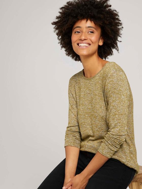 Shirt met lange mouwen en trekkoord - Vrouwen - khaki olive melange - 5 - TOM TAILOR