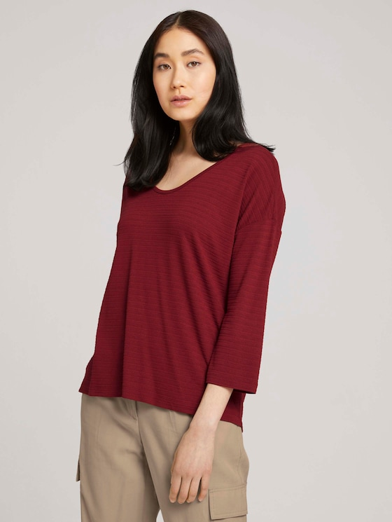 3/4-sleeved shirt with texture - Women - dark maroon red - 5 - TOM TAILOR