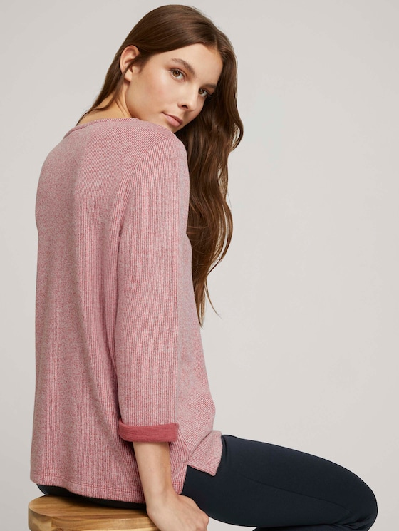 Mottled sweatshirt - Women - cozy pink melange - 5 - TOM TAILOR
