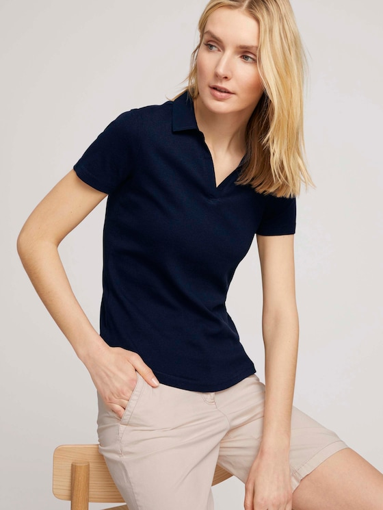 Basic Poloshirt mit Bio-Baumwolle - Frauen - Sky Captain Blue - 5 - TOM TAILOR