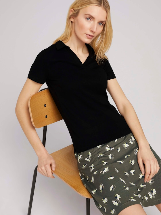 Basic Poloshirt mit Bio-Baumwolle - Frauen - deep black - 5 - TOM TAILOR