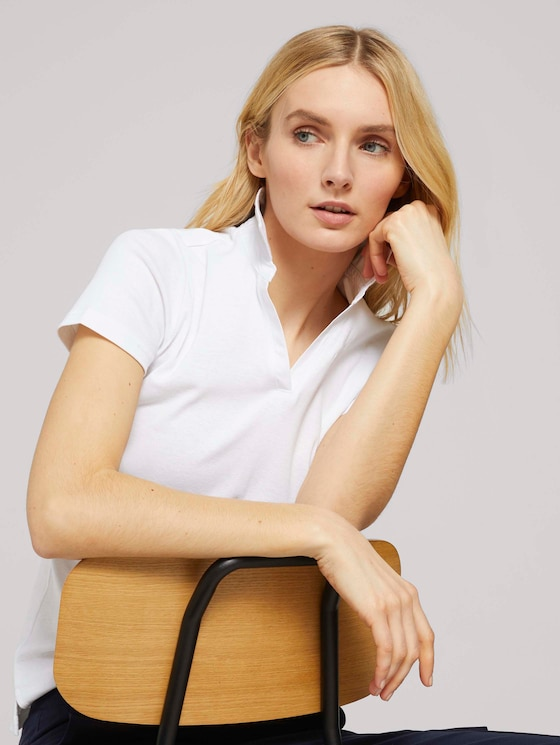 Basic Poloshirt mit Bio-Baumwolle - Frauen - White - 5 - TOM TAILOR