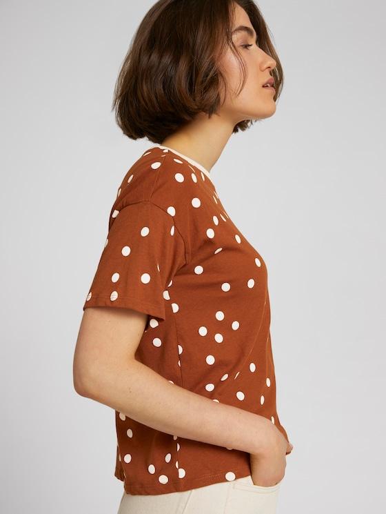 patterned cropped t-shirt - Women - brown dot print - 5 - TOM TAILOR Denim