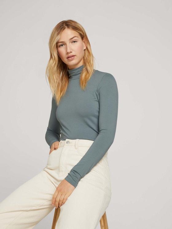 Shirt met lange mouwen van lenzing EcoVero [logo] - Vrouwen - grey mint - 5 - TOM TAILOR Denim
