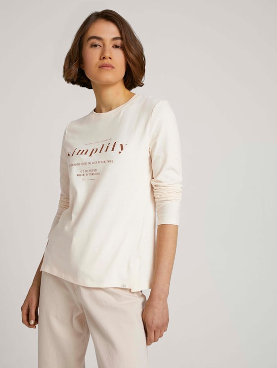 Long-sleeved shirt with a print - Women - soft creme beige - 5 - TOM TAILOR Denim