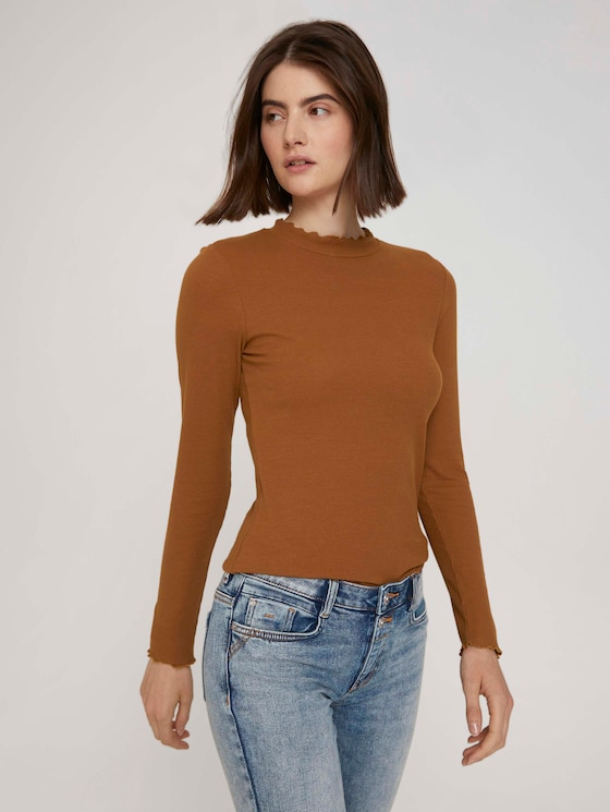 long-sleeved shirt with a stand-up collar - Women - amber brown - 5 - TOM TAILOR Denim