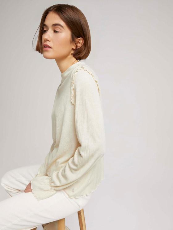 Long-sleeved shirt with flounces - Women - soft creme beige - 5 - TOM TAILOR Denim