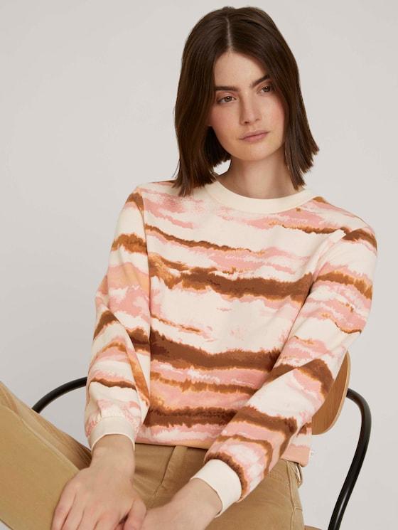 Cropped sweatshirt met gestreept patroon - Vrouwen - batik stripe - 5 - TOM TAILOR Denim