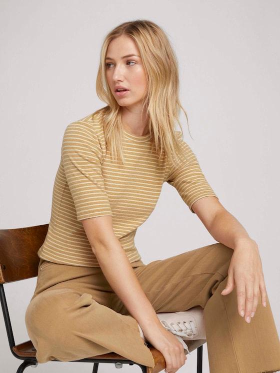 Striped shirt - Women - camel beige stripe - 5 - TOM TAILOR Denim