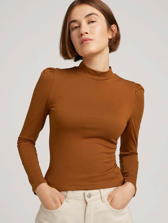 Long-sleeved shirt with puff sleeves - Women - amber brown - 5 - TOM TAILOR Denim