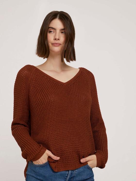 textured sweater - Women - amber brown - 5 - TOM TAILOR Denim