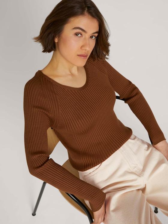 Gebreide trui gemaakt van fijne rib - Vrouwen - amber brown - 5 - TOM TAILOR Denim