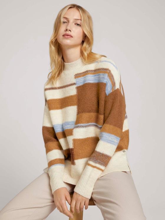 Striped sweater - Women - beige brown patchwork stripes - 5 - TOM TAILOR Denim