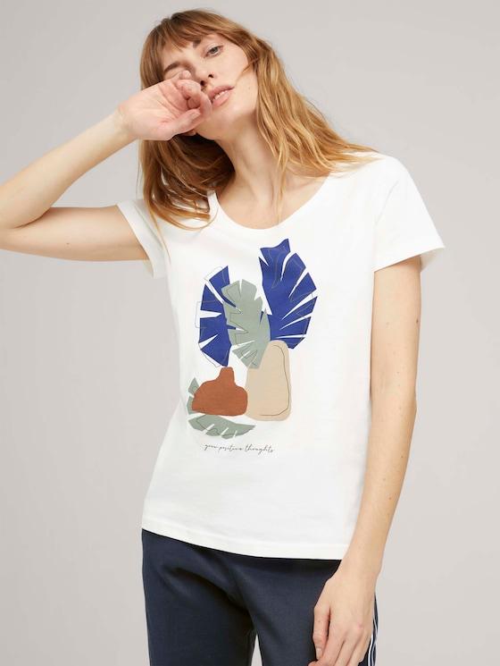 T-Shirt mit Bio-Baumwolle - Frauen - Off White - 5 - TOM TAILOR