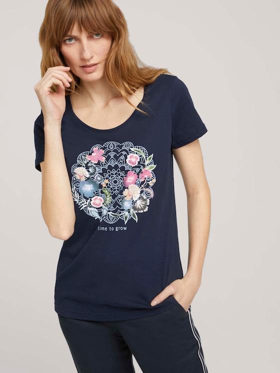 T-Shirt mit Bio-Baumwolle - Frauen - Night Sky Blue - 5 - TOM TAILOR