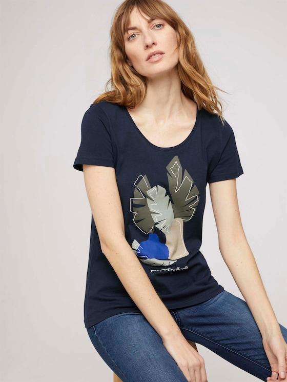 T-Shirt mit Bio-Baumwolle - Frauen - Sky Captain Blue - 5 - TOM TAILOR