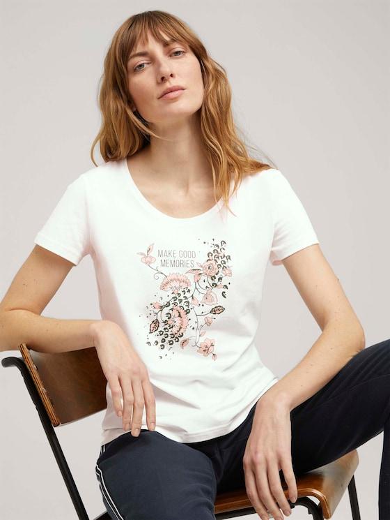 T-Shirt mit Bio-Baumwolle - Frauen - Wool White - 5 - TOM TAILOR