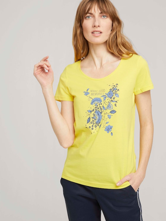 T-Shirt mit Bio-Baumwolle - Frauen - smooth yellow - 5 - TOM TAILOR