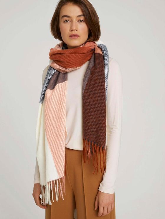 Scarf with fringes - Women - rose brown colorblock - 5 - TOM TAILOR Denim