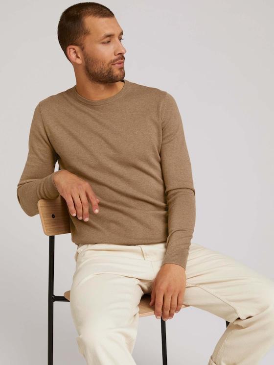 Mottled knitted sweater - Men - havana brown melange - 5 - TOM TAILOR
