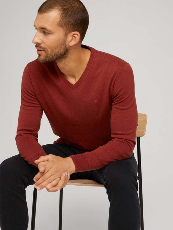 Mottled sweater with a V-neckline - Men - spicy chocolate melange - 5 - TOM TAILOR