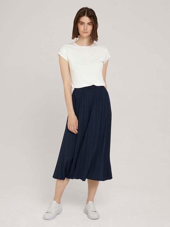 Midi skirt with pleats - Women - Sky Captain Blue - 3 - TOM TAILOR Denim