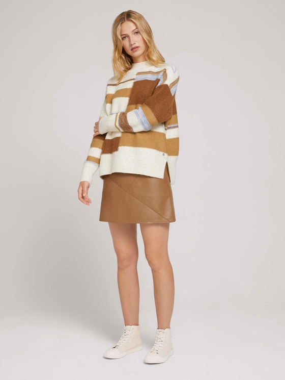 Mini skirt in a leather look - Women - brown fake leather - 3 - TOM TAILOR Denim