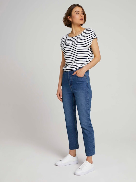 Lotte Slim Straight-jeans - Vrouwen - Clean Mid Stone Blue Denim - 3 - TOM TAILOR Denim