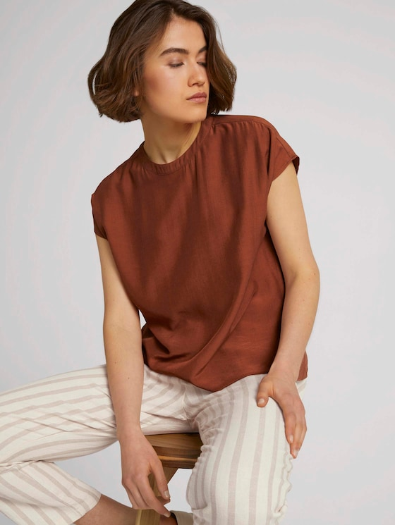 short-sleeved blouse with a stand-up collar - Women - amber brown - 5 - TOM TAILOR Denim