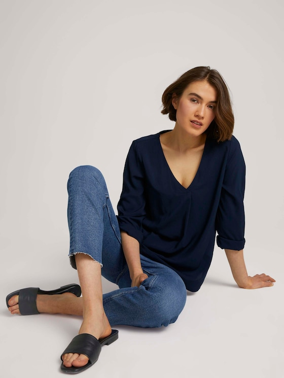 Bluse mit V-Ausschnitt - Frauen - Sky Captain Blue - 5 - TOM TAILOR Denim