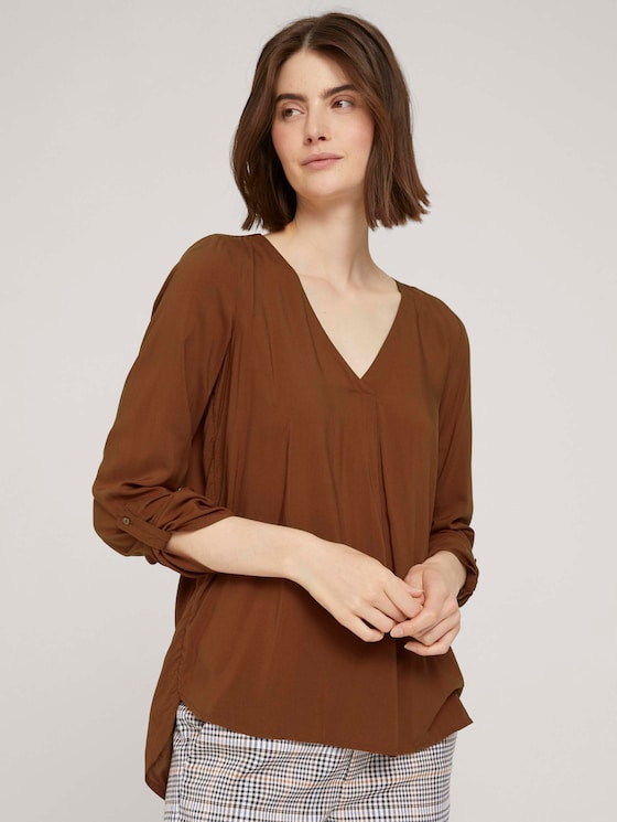 Bluse mit V-Ausschnitt - Frauen - amber-brown - 5 - TOM TAILOR Denim