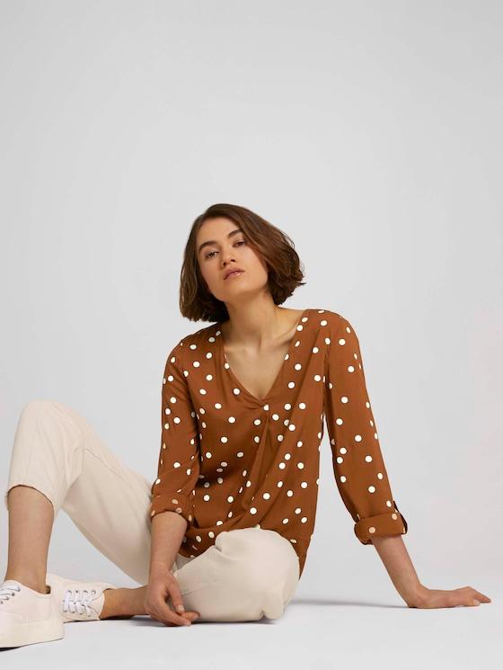 Bluse mit V-Ausschnitt - Frauen - brown dot print - 5 - TOM TAILOR Denim