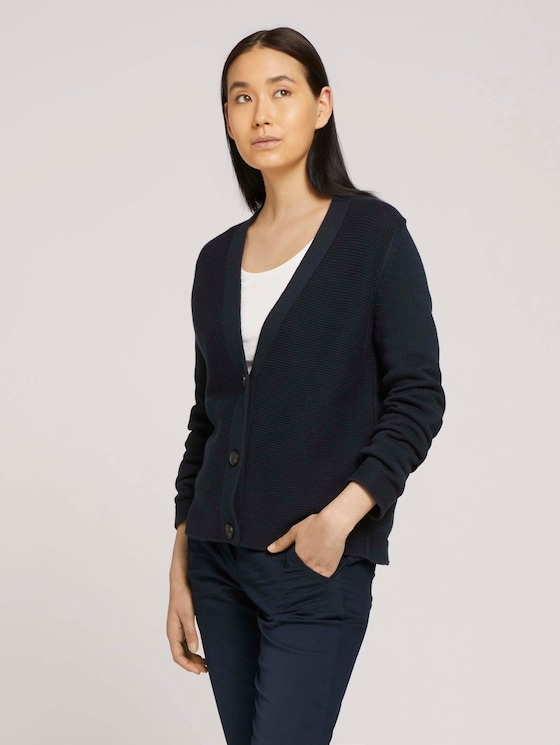 Textured cardigan - Women - Sky Captain Blue - 5 - TOM TAILOR
