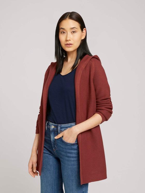 Hooded cardigan - Women - dark maroon red - 5 - TOM TAILOR