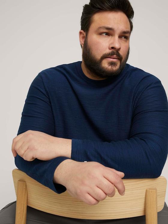 Sweatshirt in Melange Optik - Männer - Dark Blue - 5 - Men Plus