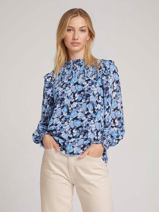Patterned blouse - Women - blue flower print - 5 - TOM TAILOR Denim
