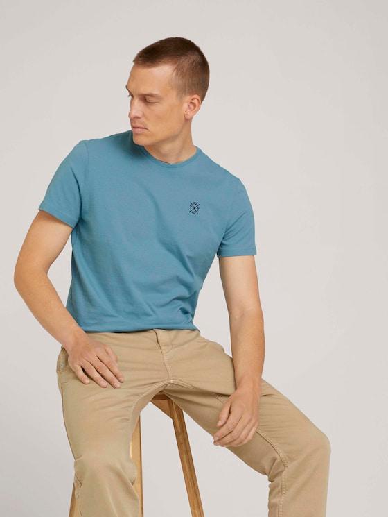 basic T-shirt - Mannen - smokey aqua - 5 - TOM TAILOR