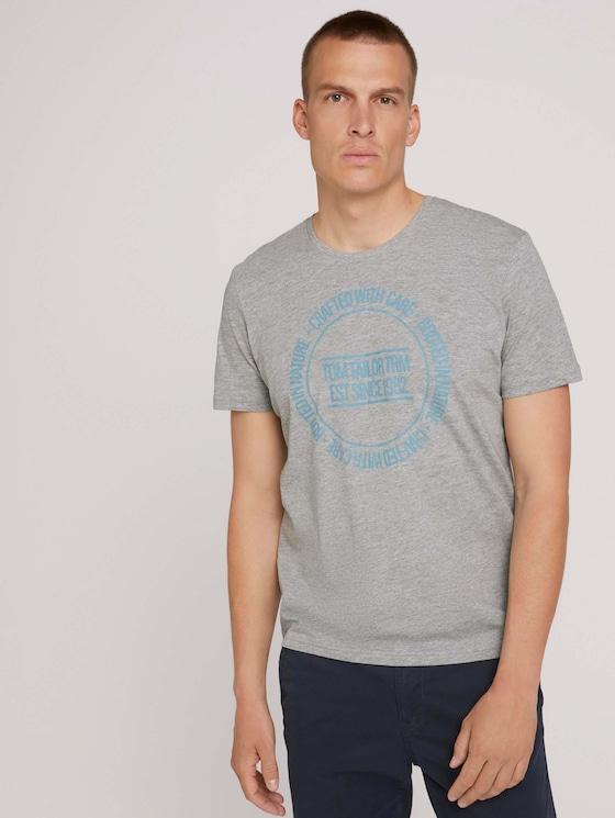 Print t-shirt - Men - Middle Grey Melange - 5 - TOM TAILOR