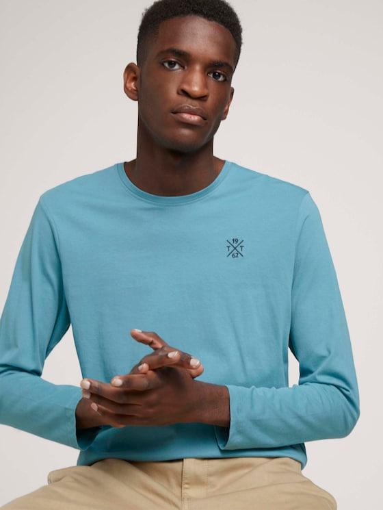 Basic long-sleeved shirt made of organic cotton - Men - smokey aqua - 5 - TOM TAILOR