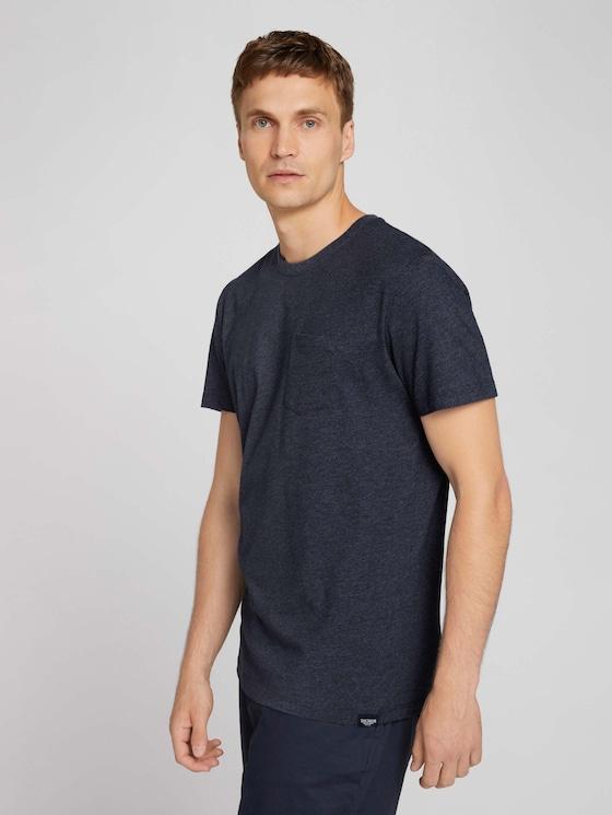T-Shirt mit Bio-Baumwolle - Männer - sky captain blue white melange - 5 - TOM TAILOR